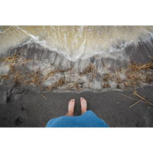 フリー写真, 人体, 足, 人と風景, ビーチ(砂浜), 海