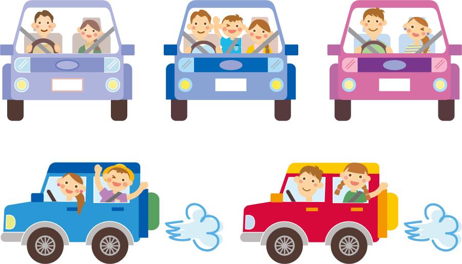 フリーイラスト 5種類の車でドライブするカップルと家族のセット