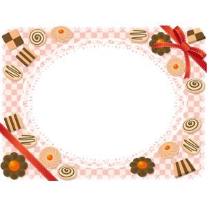 フリーイラスト, ベクター画像, AI, 背景, フレーム, 円形フレーム, 食べ物(食料), 菓子, 洋菓子, クッキー(ビスケット), レース編み, 市松模様, リボン