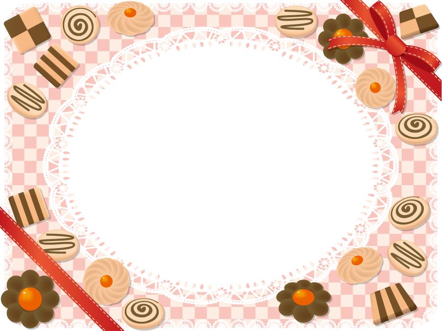 フリーイラスト クッキーと市松模様の飾り枠
