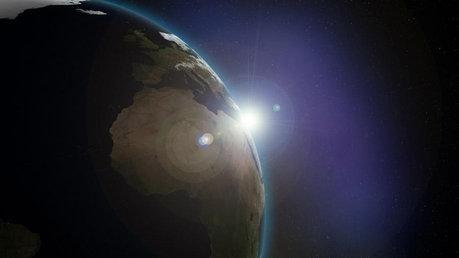 フリーイラスト 地球と太陽の光