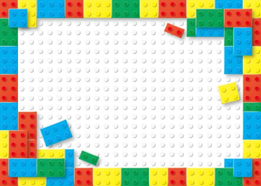 フリーイラスト カラフルなレゴブロックのフレーム