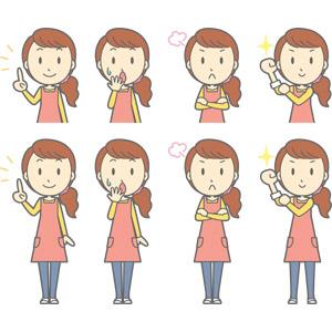フリーイラスト, ベクター画像, AI, 人物, 女性, 女性(00188), 主婦, 母親(お母さん), エプロン, アドバイス, 指差す, 上を指す, 驚く, 口を開ける, 怒る, 腕を組む, 腕をまくる, 頑張る, 失敗