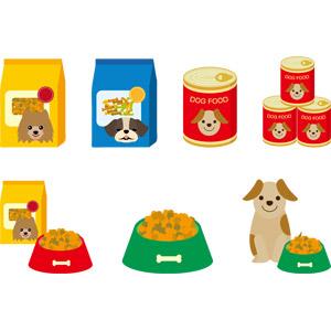 フリーイラスト, ベクター画像, AI, ペットフード, ドッグフード, 犬(イヌ), ペット用品, 缶詰