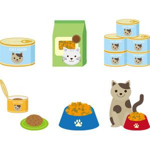 フリーイラスト, ベクター画像, AI, ペットフード, キャットフード, 猫(ネコ), ペット用品, 缶詰