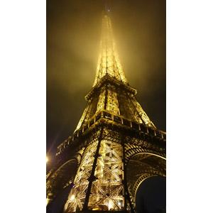 フリー写真, 風景, 建造物, 建築物, 塔(タワー), エッフェル塔, 夜, 夜景, 霧(霞)