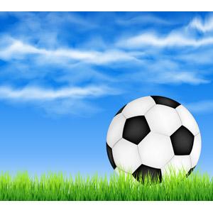 フリーイラスト, ベクター画像, AI, 背景, スポーツ, 球技, サッカー, サッカーボール, 芝生, 青空