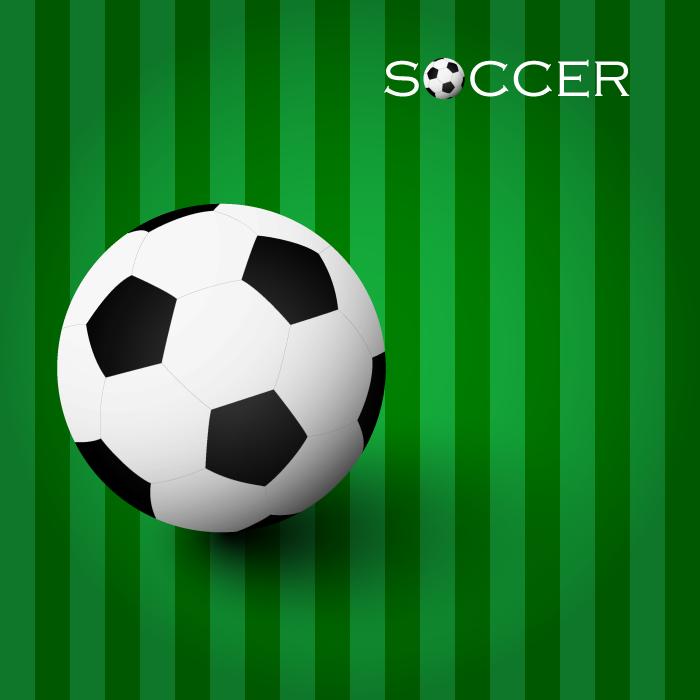 フリーイラスト サッカーボールとピッチの背景