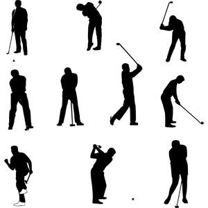 フリーイラスト, ベクター画像, AI, シルエット(人物), スポーツ, 球技, ゴルフ, ゴルファー