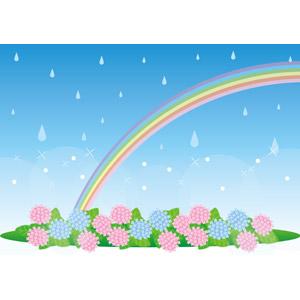 フリーイラスト, ベクター画像, AI, 梅雨, 6月, 背景, 雨, 虹, 花, 紫陽花(アジサイ)