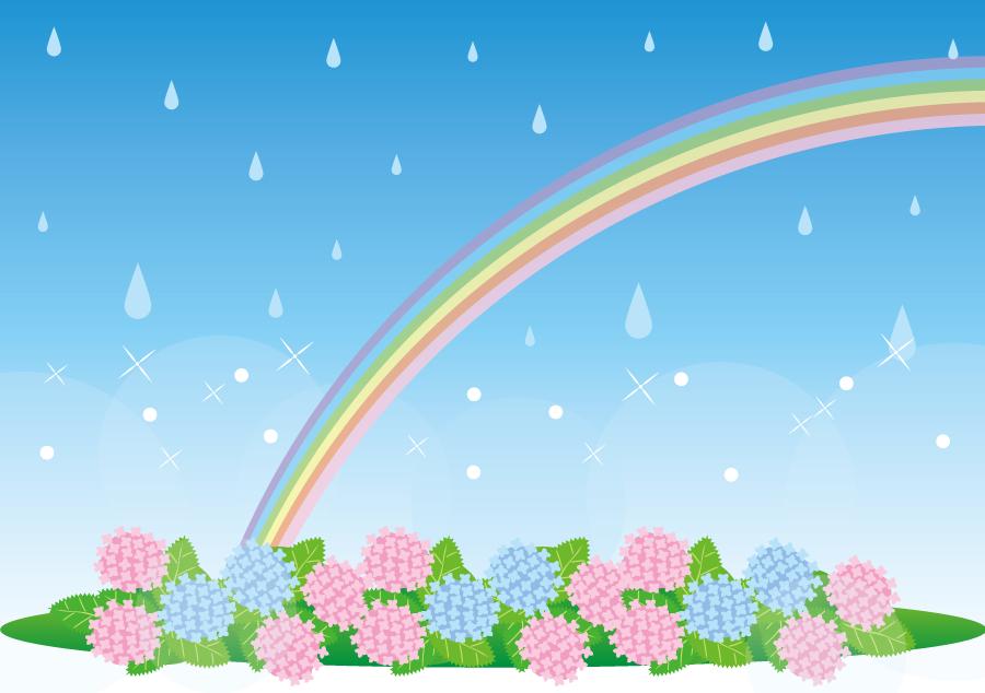 フリーイラスト 雨と虹とあじさいの背景