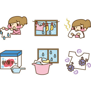フリーイラスト, ベクター画像, AI, 梅雨, 6月, 洗濯, 洗濯物, ばい菌, 臭い, 洗濯用洗剤