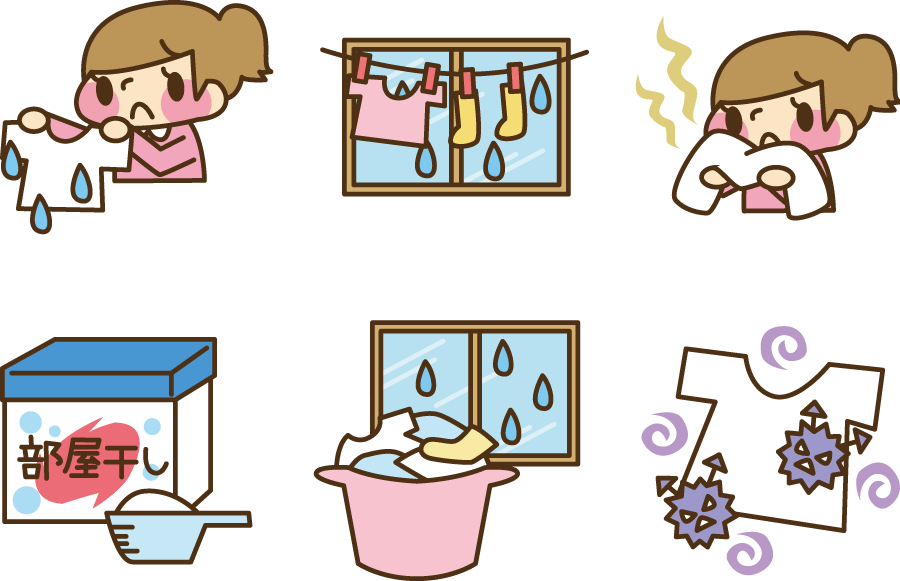 フリーイラスト 6種類の梅雨の季節の洗濯のセット