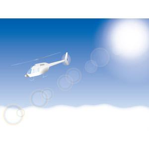 フリーイラスト, ベクター画像, AI, 風景, 空, 雲, 雲海, 太陽光(日光), 乗り物, 航空機, ヘリコプター