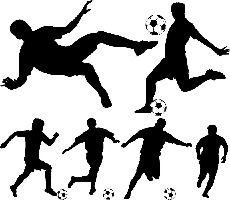 フリーイラスト 6種類のサッカー選手のシルエットのセット