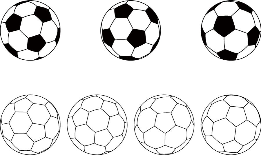 フリーイラスト 7種類のサッカーボールのセット
