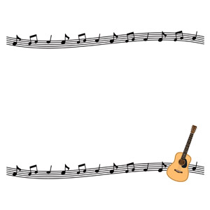 フリーイラスト, ベクター画像, AI, 背景, フレーム, 上下フレーム, 音楽, 楽譜, 楽器, 弦楽器, ギター, アコースティックギター