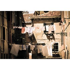 フリー写真, 風景, 建造物, 建築物, 旧市街, イタリアの風景, ヴェネツィア(ベネチア), 洗濯物, 洗濯