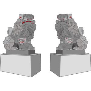 フリーイラスト, ベクター画像, AI, 狛犬, 神使, 彫像, 仏教, 日本神道