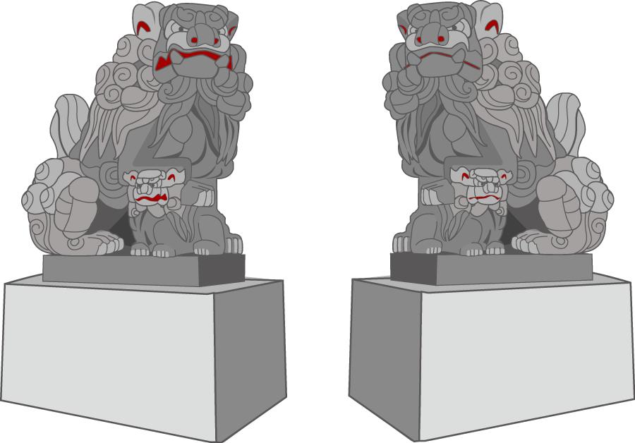 フリーイラスト 阿形と吽形の狛犬