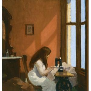 フリー絵画, エドワード・ホッパー, 人物画, 少女, 外国の少女, ミシン, 裁縫