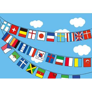 フリーイラスト, 旗(フラッグ), 万国旗, 年中行事, 運動会(体育祭), 10月, 青空