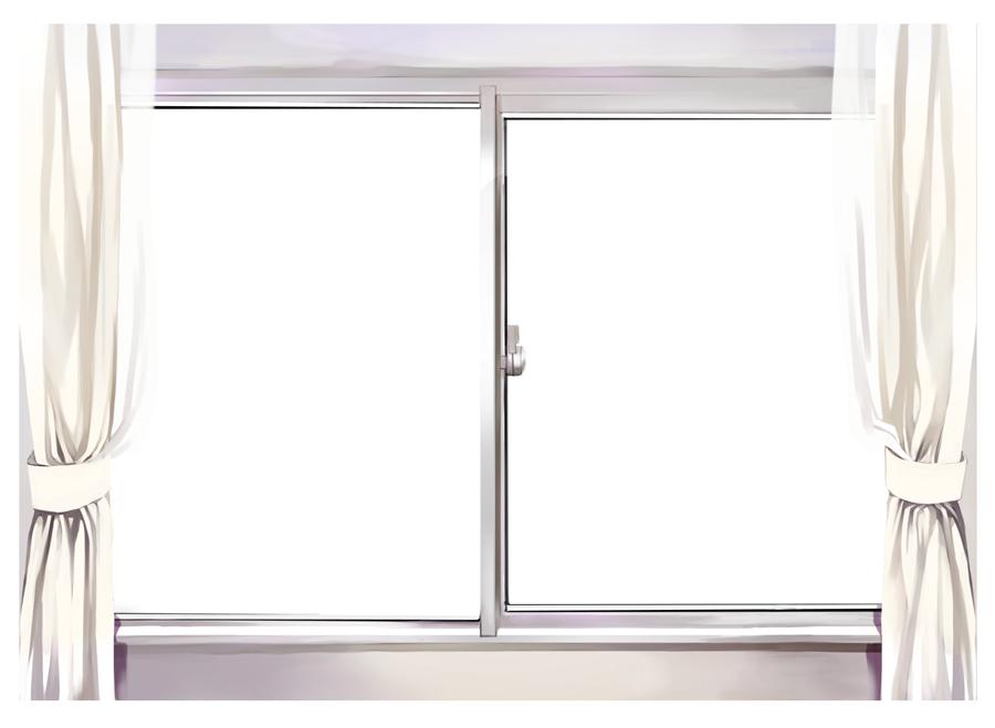 フリーイラスト 窓とカーテンの風景