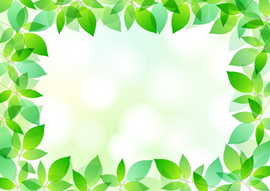 フリーイラスト 緑色の葉っぱの囲みフレーム