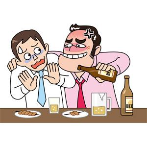 フリーイラスト, ベクター画像, EPS, 人物, 男性, 職業, サラリーマン, 上司, 宴会, 新年会, 忘年会, 飲み物(飲料), お酒, ビール, ハラスメント, アルコールハラスメント, 飲食店, 居酒屋, ビジネス, ブラック企業