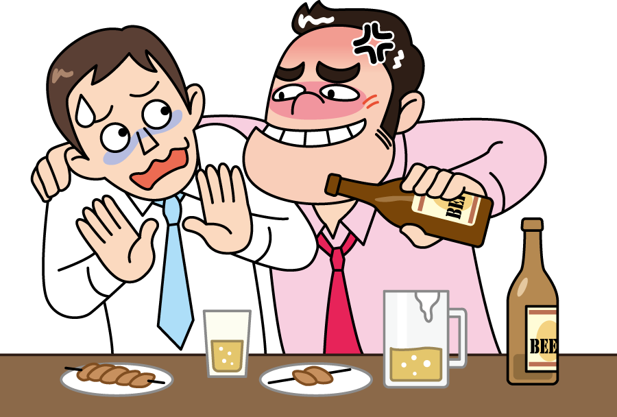 フリーイラスト 強引に酒を勧めるアルハラの上司