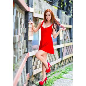 フリー写真, 人物, 女性, アジア人女性, 巧巧(00189), 中国人, 髪の毛を触る, ドレス