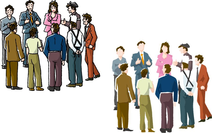 フリーイラスト 2種類のみんなで集まって話し合いする人々のセット