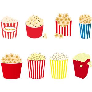 フリーイラスト, ベクター画像, AI, 食べ物(食料), 菓子, ポップコーン, とうもろこし(トウモロコシ), 映画館