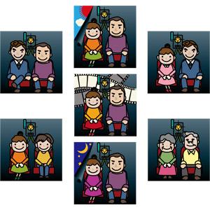 フリーイラスト, ベクター画像, AI, 人物, 友達, カップル, 夫婦, 恋人, デート, 映画, 映画館, 映写機, 老人
