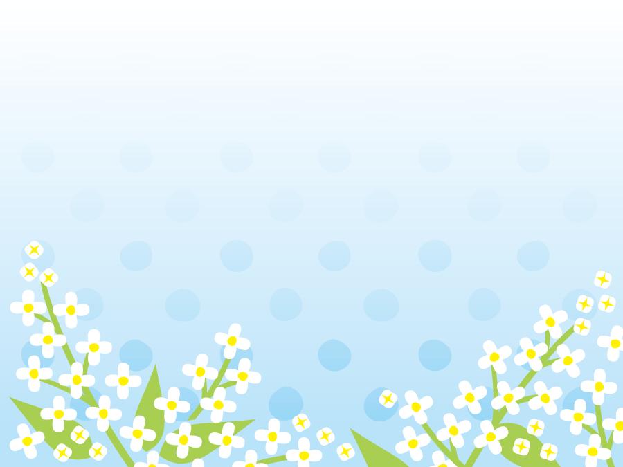 フリーイラスト 白いライラックと水玉模様の背景