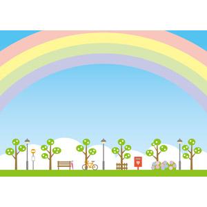 フリーイラスト, ベクター画像, EPS, 風景, 街(町), 街灯, 郵便ポスト, 自転車, 停留所, ベンチ, 6月, 梅雨, 紫陽花(アジサイ), 虹