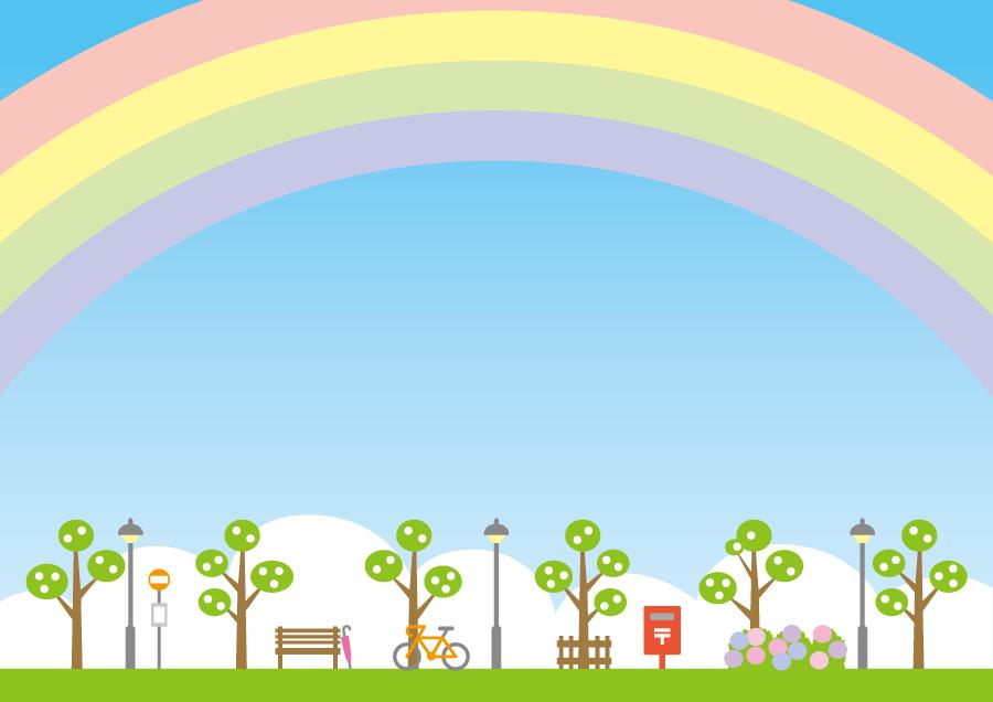 フリーイラスト 雨上がりの虹がかかる街の風景