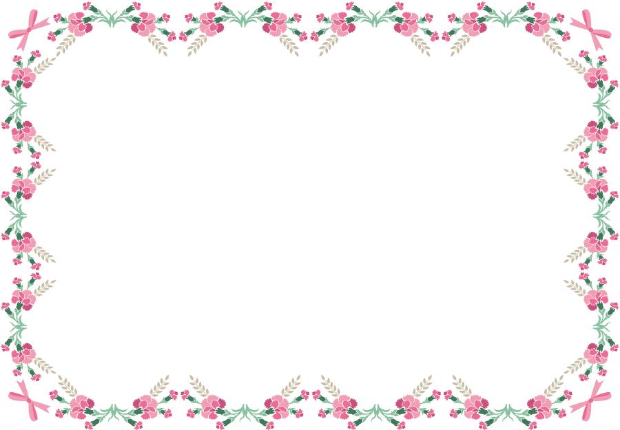 フリーイラスト ピンク色のカーネーションの飾り枠