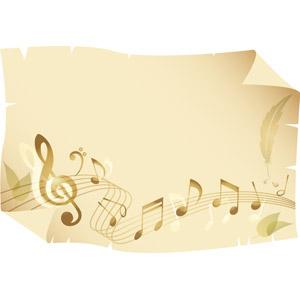 フリーイラスト, ベクター画像, EPS, 背景, 古紙(羊皮紙), 紙(ペーパー), 音楽, 楽譜, 音符, 羽根(羽毛)