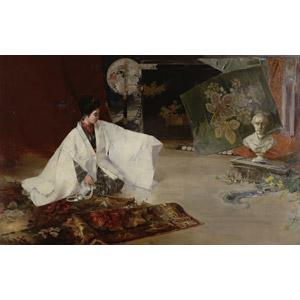 フリー絵画, 川村清雄, 少女, アジアの少女, 和服, 直垂, 日本人, 座る(床), 正座, 彫像, 勝海舟, 絨毯(カーペット)