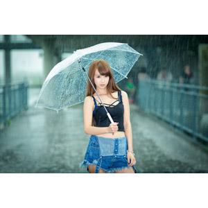 フリー写真, 人物, 女性, アジア人女性, 中国人, 雨, 傘