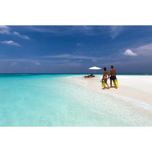 フリー写真, 人物, カップル, 恋人, 後ろ姿, 手をつなぐ, 人と風景, 海, ビーチ(砂浜), モルディブの風景, リゾート, バケーション, 水着, ビーチパラソル, デッキチェア, 二人, 南国
