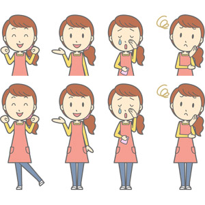 フリーイラスト, ベクター画像, AI, 人物, 女性, 女性(00188), 主婦, 母親(お母さん), エプロン, ワクワク, 案内する, 泣く(泣き顔), 困る