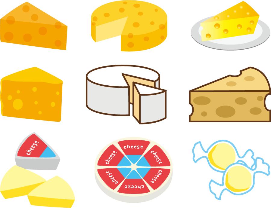 フリーイラスト 9種類のチーズのセット