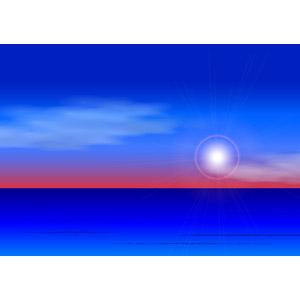 フリーイラスト, ベクター画像, AI, 風景, 自然, 海, 朝, 朝日, 日の出, 太陽光(日光)