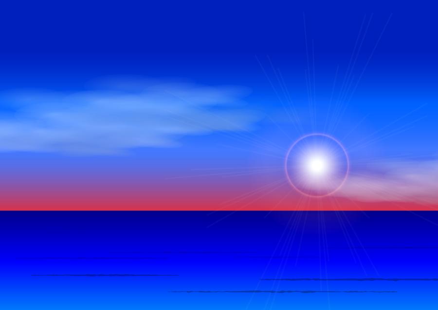 フリーイラスト 日の出の海の風景