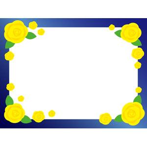 フリーイラスト, ベクター画像, EPS, 背景, フレーム, 囲みフレーム, 年中行事, 6月, 父の日, 花, 薔薇(バラ), 黄色の花