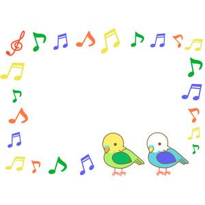 フリーイラスト, ベクター画像, EPS, 背景, フレーム, 囲みフレーム, 音楽, 音符, カラフル, 動物, 鳥類, 鳥(トリ), インコ, セキセイインコ