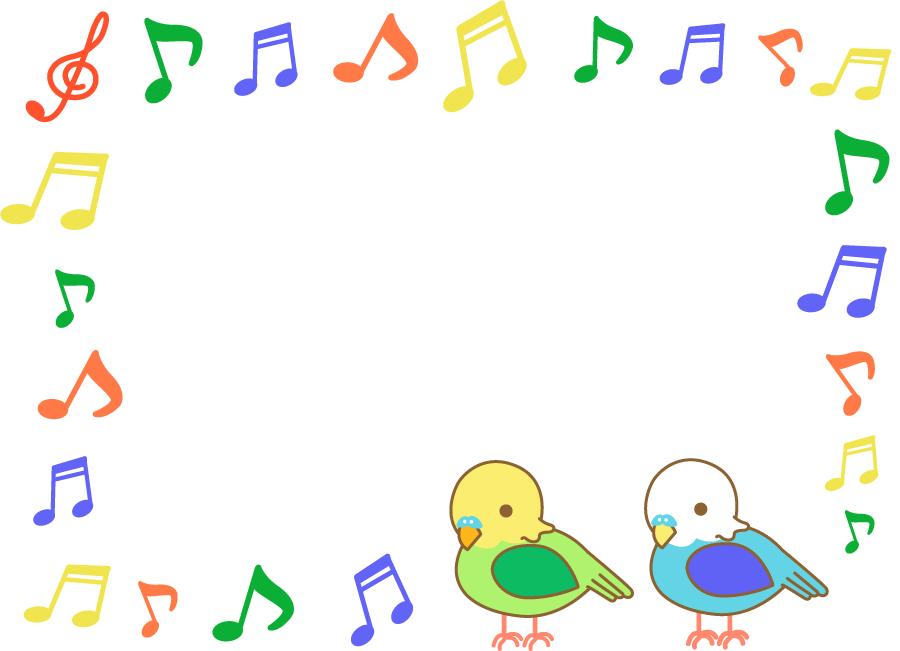 フリーイラスト インコとカラフルな音符のフレーム