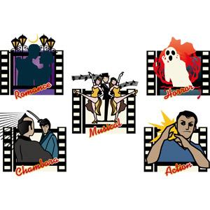 フリーイラスト, ベクター画像, AI, 映画, 映画フィルム, 武士(侍), 日本刀, カップル, 愛(ラブ), 音楽, ミュージカル, 踊る(ダンス), 幽霊(お化け)